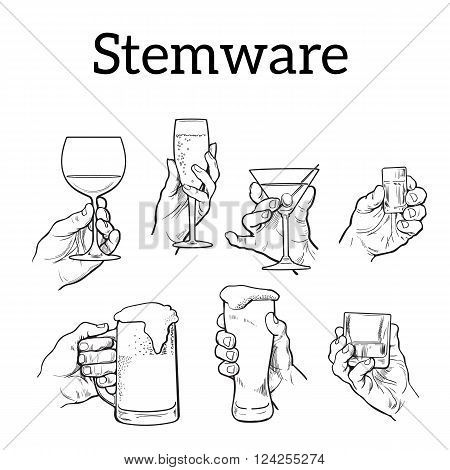 The hand holds a glass with alcohol. Drinks - champagne, beer, tequila, cocktail. Set with izobrezheniem hands and alcohol. The concept of alcohol consumption and of a good evening. Vector. Sketch
