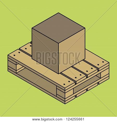 Closed carton delivery packaging box on wooden pallet isolated on chartreuse background vector illustration poster