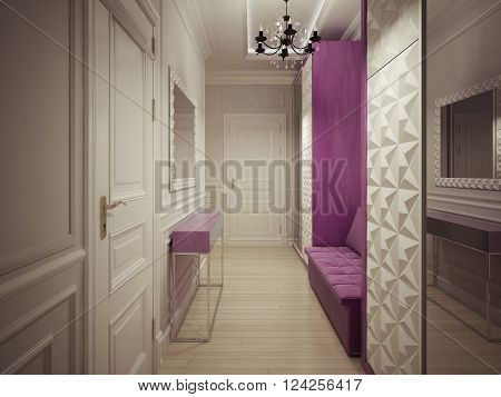 Luxury corridor interior in cream. 3d render