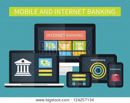 Internet banking, online transaction. Mobile banking on different devices. Flat vector illustration.