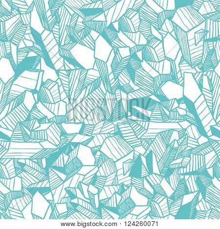 Seamless winter vector pattern with blue crystals