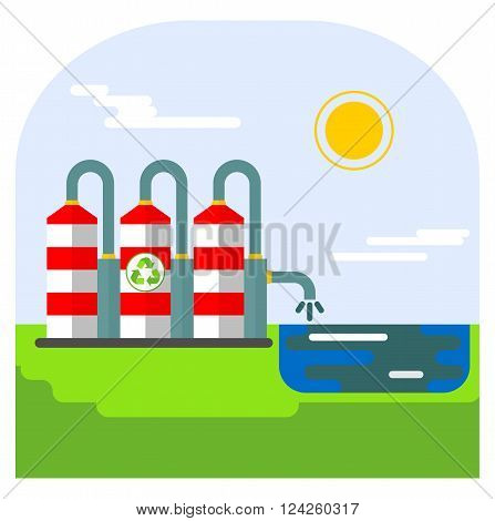Environmentally friendly plant save water. Ecology design concept with air water and soil pollution. Flat icons isolated vector illustration.