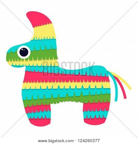 pinata isolated on white background .Vector bright striped colorful pinata