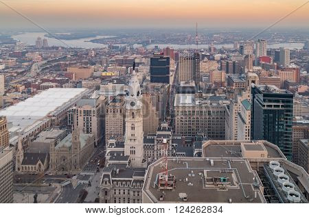 PHILADELPHIA, PA - DECEMBER 6, 2015: Aerial of Philadelphia Skyline from the new One Liberty Observation Deck at sunset
