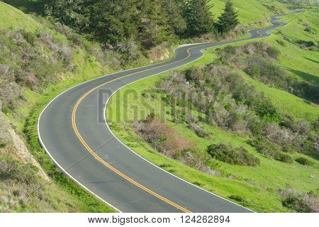 Long, Winding road along the Pacific Coast Highway in northern California