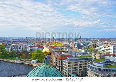 Panoramic view from the Dome of Berlin Cathedral to Spree river. Berlin Cathedral is placed in the Mitte borough.