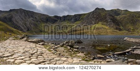 Snowdon Horseshoe Mountain Landscape With Low Level Clouds And Fog