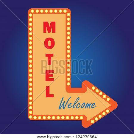 Neon vintage motel signwith light bulbs. 10 eps vector illustration