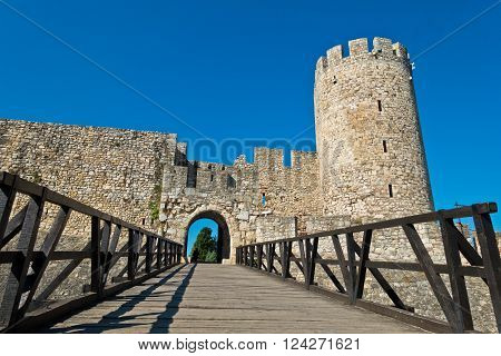 Wooden bridge at the entrance of Kalemegdan fortress in Belgrade, Serbia