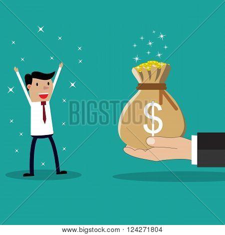 Business big hand giving bonus money to businessman. vector illustration in flat design on green background