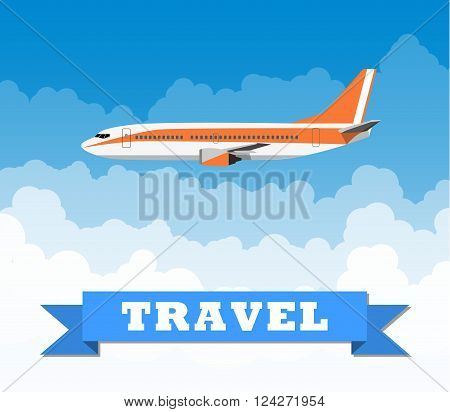 picture of a civilian plane with clouds and travel sign. vector illustration in flat design. travel concept. Vertical banner with the image of an airplane flying up against the sky