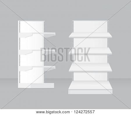 Realistic 3d empty supermarket shelf isolated vector illustration