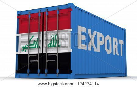 Export of Iraq. Freight container on a white surface with inscription