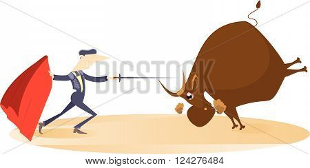 Bullfight. Bullfighter aims to the bull by sword