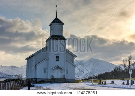 Gimsoy Church in the Lofoten Islands in the winter. It is a parish church in the municipality of Vagan in Nordland county Norway. poster