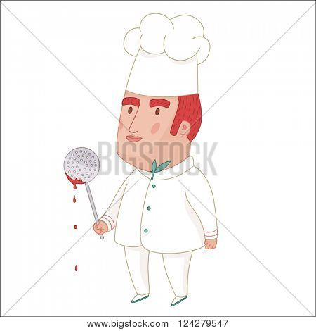 Cook, cartoon vector illustration, a middle aged red haired man wearing a chief hat, holding perforated spoon with some red sauce on it, a part of Dodo people collection