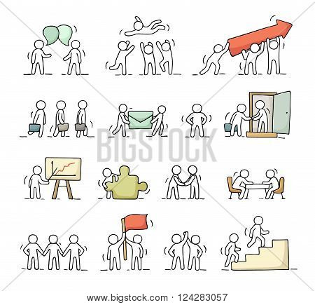 Business icons set of sketch working little people with puzzle teamwork. Doodle cute miniature scenes of workers. Hand drawn cartoon vector illustration for business design and infographic.