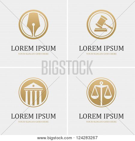 Set of four round golden law icons with scales gavel fountain pen and courthouse. Can be used as logo design template for law firm or company lawyer or attorney office legal and justice concept.