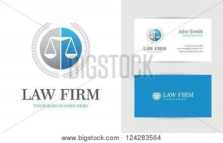 Law logo with scales and wreath in blue and gray colors. Business card design templates for law firm company lawyer or attorney office