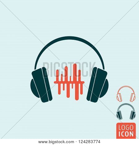 Headphones icon. Headphones symbol. Headphone with sound wave beats icon isolated, minimal design. Vector illustration