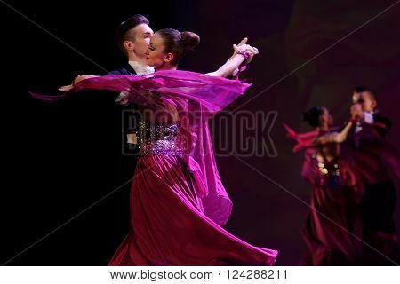 ST. PETERSBURG, RUSSIA - MARCH 28, 2016: Young dancers perform at the opening ceremony of Festival of Choreographic Art Pari Grand. Artists from 9 countries participated in the festival