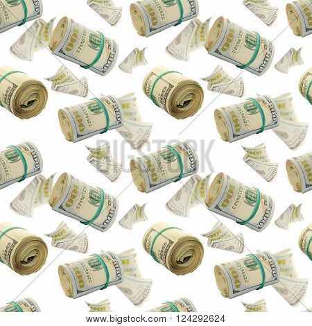 Seamless pattern with  Flying rolls of One Hundred Dollar Bills. Abstract money background