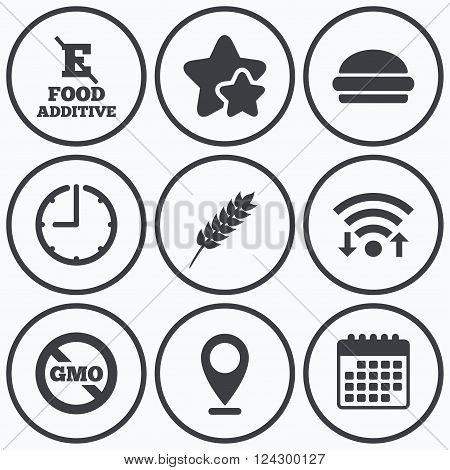 Clock, wifi and stars icons. Food additive icon. Hamburger fast food sign. Gluten free and No GMO symbols. Without E acid stabilizers. Calendar symbol.