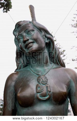 Napier, New Zealand - March 6, 2015: Pania of the Reef Bronze Statue located along Marine Parade.