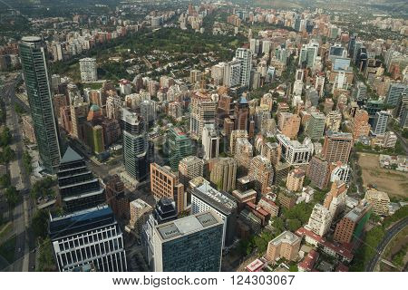 Santiago de Chile Chile - November 15 2015: Santiago de Chile aerial view from Sky Costanera Santiago Chile. Sky Costanera the highest building in Latin America designed by Cesar Pelli.