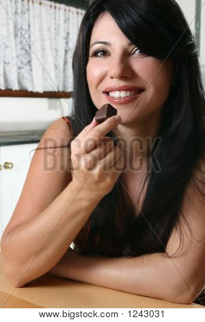 Beautiful Woman Holding Chocolate