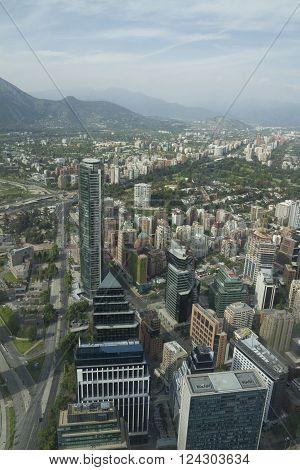 Santiago De Chile, Chile - November 15, 2015: Santiago De Chile Aerial View From Sky Costanera, Sant
