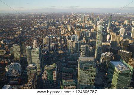 Toronto, Canada - January 30, 2016: Skyscrapers In Downtown Toronto, High View From Cn Tower.