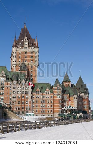 Quebec, Canada - February 03, 2016: Chateau Frontenac, with snow during winter.