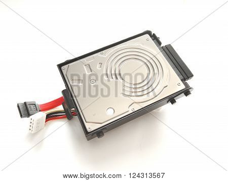Close Up SATA Harddisk Isolated on White Background