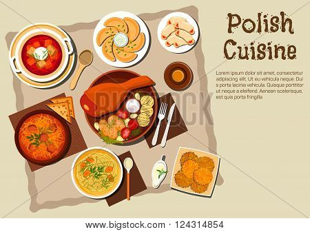 Polish national cuisine dishes with pork leg and grilled vegetables, meat and cabbage stew bigos, noodle chicken soup, vegetarian dumplings pierogi, beet soup, potato pancakes, cookies with jam and bottle of dark beer