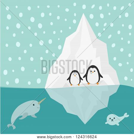 Penguin narwhal and seal family Iceberg Blue water Snow in the sky Flat design Winter background Vector illustration
