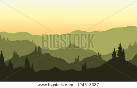 View of hills silhouette at the afternoon
