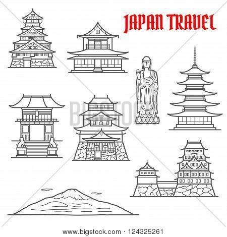 Japan travel landmarks thin line icons of Fuji mountain and Ushiku Great Buddha, Imperial palace and Osaka castle, deva gate of Kiyomizu-dera temple, oldest pagoda in temple of flourishing law, Matsue castle and Toji temple