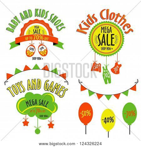 vector sale set for kids stores.  Mega sale badge. Vector tag for print or website.