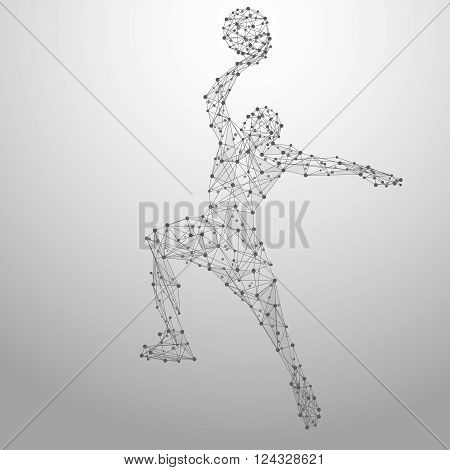 Thin line basketball player in motion from blue polygonal. Basketball player jumping with the ball. Abstract poly vector illustration