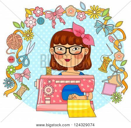 girl with sewing machine and items related to sewing and crafts