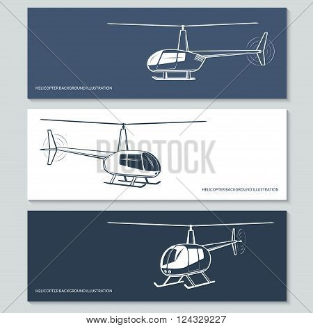 Set of vector helicopter silhouettes, outlines, contours isolated on white and dark backgrounds