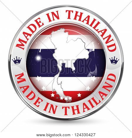 Made in Made in Thailand - icon, button, label and sign with Thailand' s flag in the background