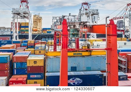 Buenos Aires Argentina - December 17 2012: Containers operation in the Port of Buenos Aires Argentina. The Port of Buenos Aires is the principal maritime port in Argentina. It is the leading transshipment point for the foreign trade of Argentina.