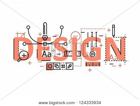 Design concept flat line design with icons and elements. Modern design concept vectors collection. Thin line flat design banners for website and mobile website easy to use and highly customizable. Design concept lettering