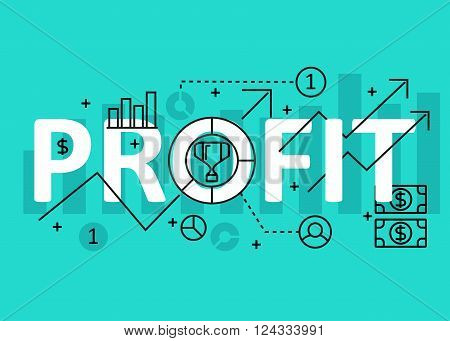 Profit concept flat line design with icons and elements. Modern profit concept vectors collection. Thin line flat design banners for website and mobile website easy to use and highly customizable. Profit concept lettering
