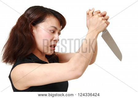 killer woman with knife on white background