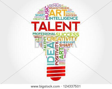 Talent bulb word cloud concept, presentation background