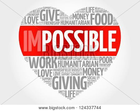 Impossible to Possible word cloud heart concept, presentation background