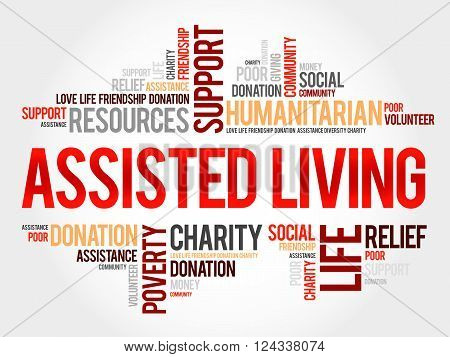 Assisted Living word cloud collage concept, presentation background